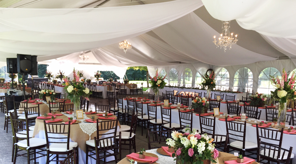 Wedding tent with chandeliers and sheer draping in illinois wedding tent at tpc deere run golf course silvis illinois junglespirit Image collections