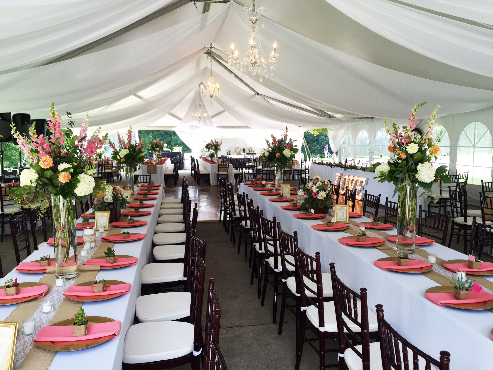 40 x 80 hybrid event tentstructure rental iowa il mo wi wedding reception tent with sheer drape tables and chairs junglespirit Image collections