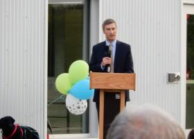 Mayor of Iowa City Matthew J Hayek at ribbon-cutting ceremony