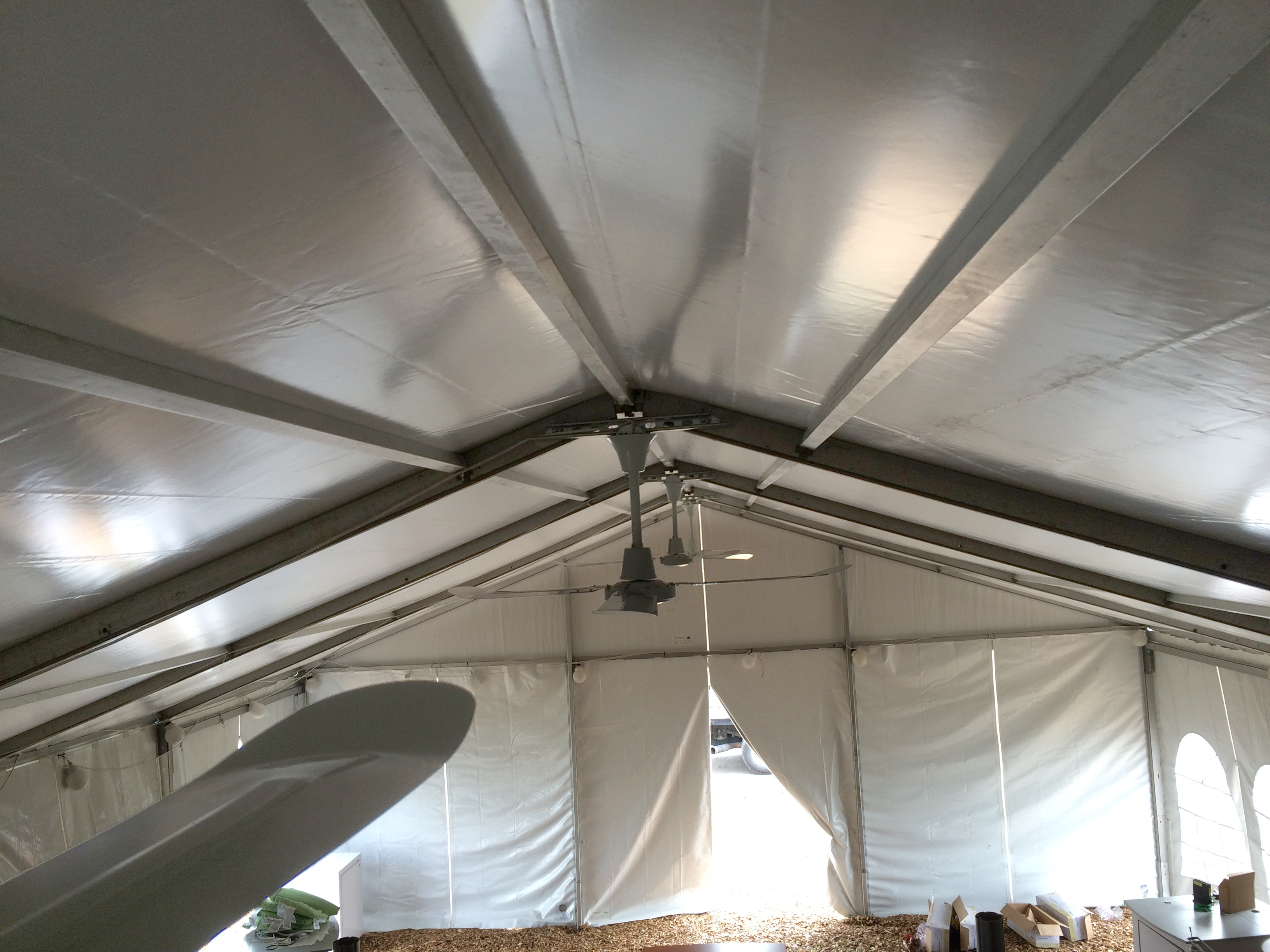 Ceiling fan under tentevent structure rental peak of losberger made clearspan tent with ceiling fans mozeypictures Image collections
