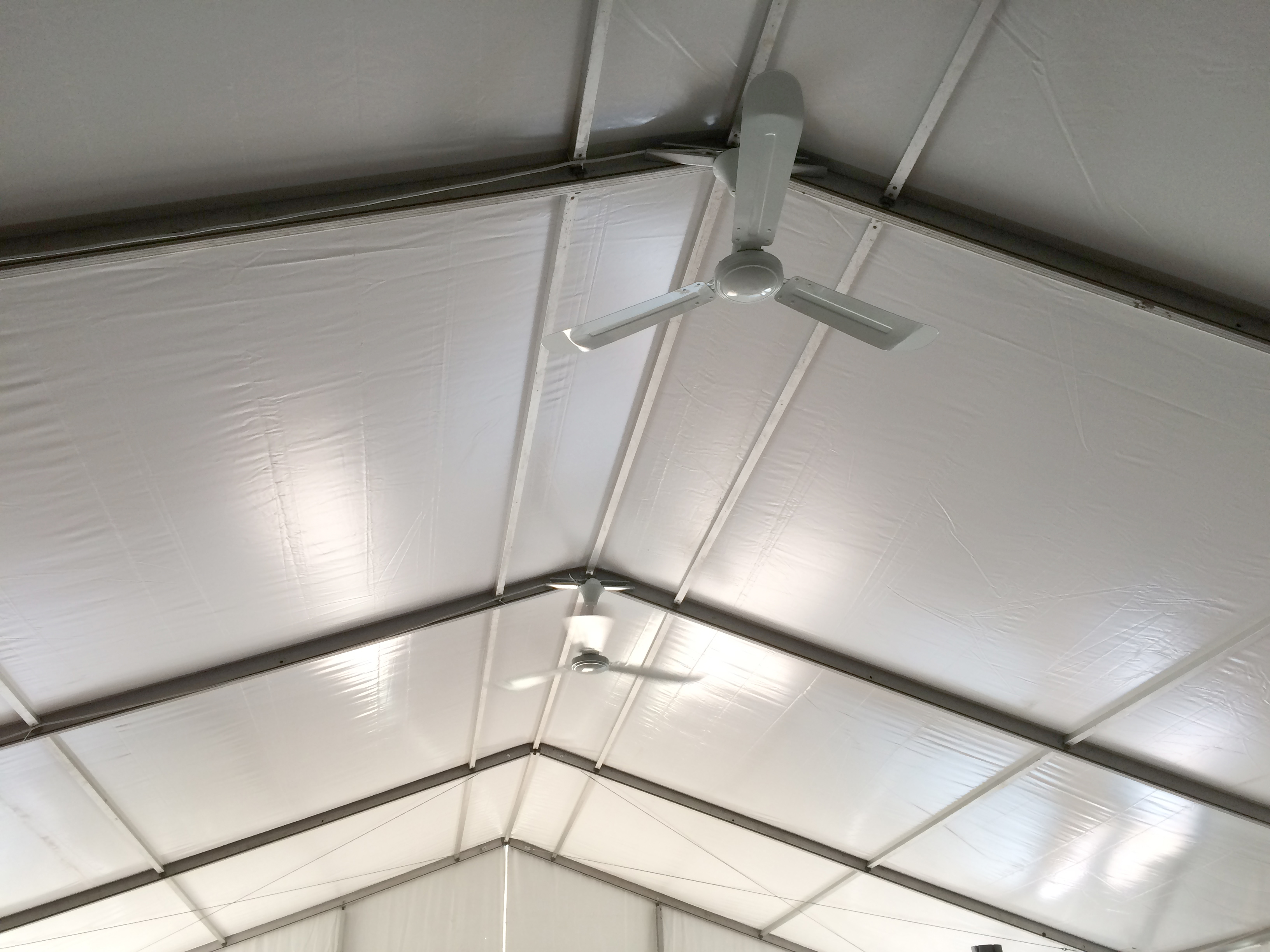 Ceiling fan under tentevent structure rental peak of event tent with ceiling fans installed mozeypictures Image collections