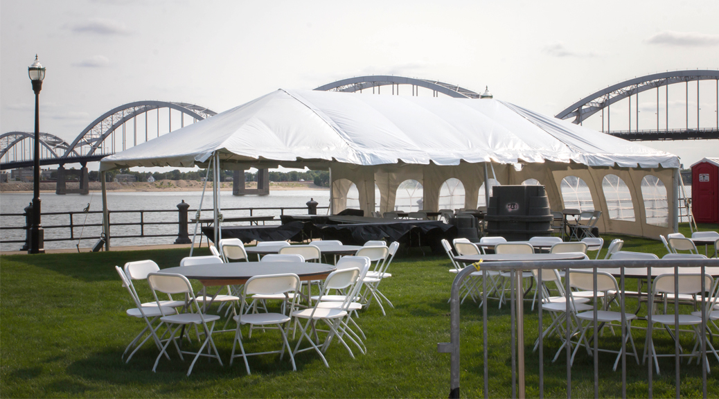 Event setup for 2015 River Roots- Quad Cities Music and Rib Fest