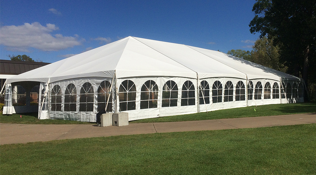 Wedding reception tent at Oakwood Country Club in Coal Valley, Illinois