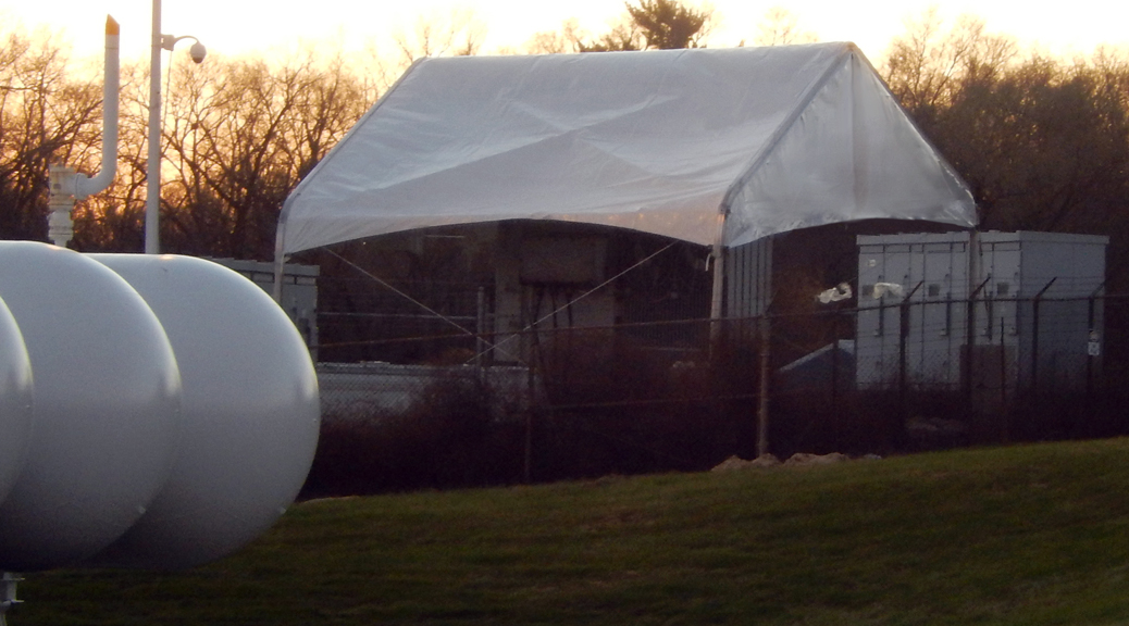 Work tent over electrical transformer