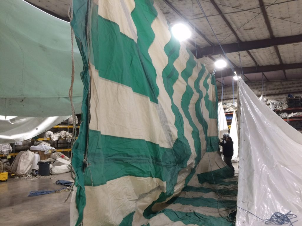 20' x 30' Green and White - Rope and Pole Tent for sale drying