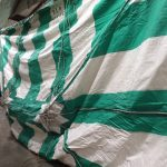 20' x 30' Green and White - Rope and Pole Tent for sale hanging