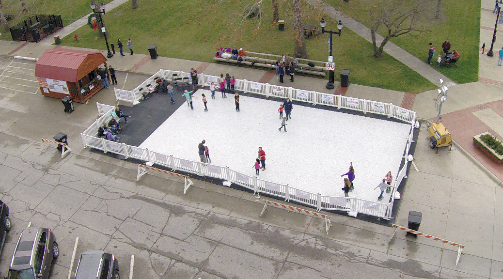 Aerial view of Portable Ice Skating Rink at Mount Pleasant, Iowa