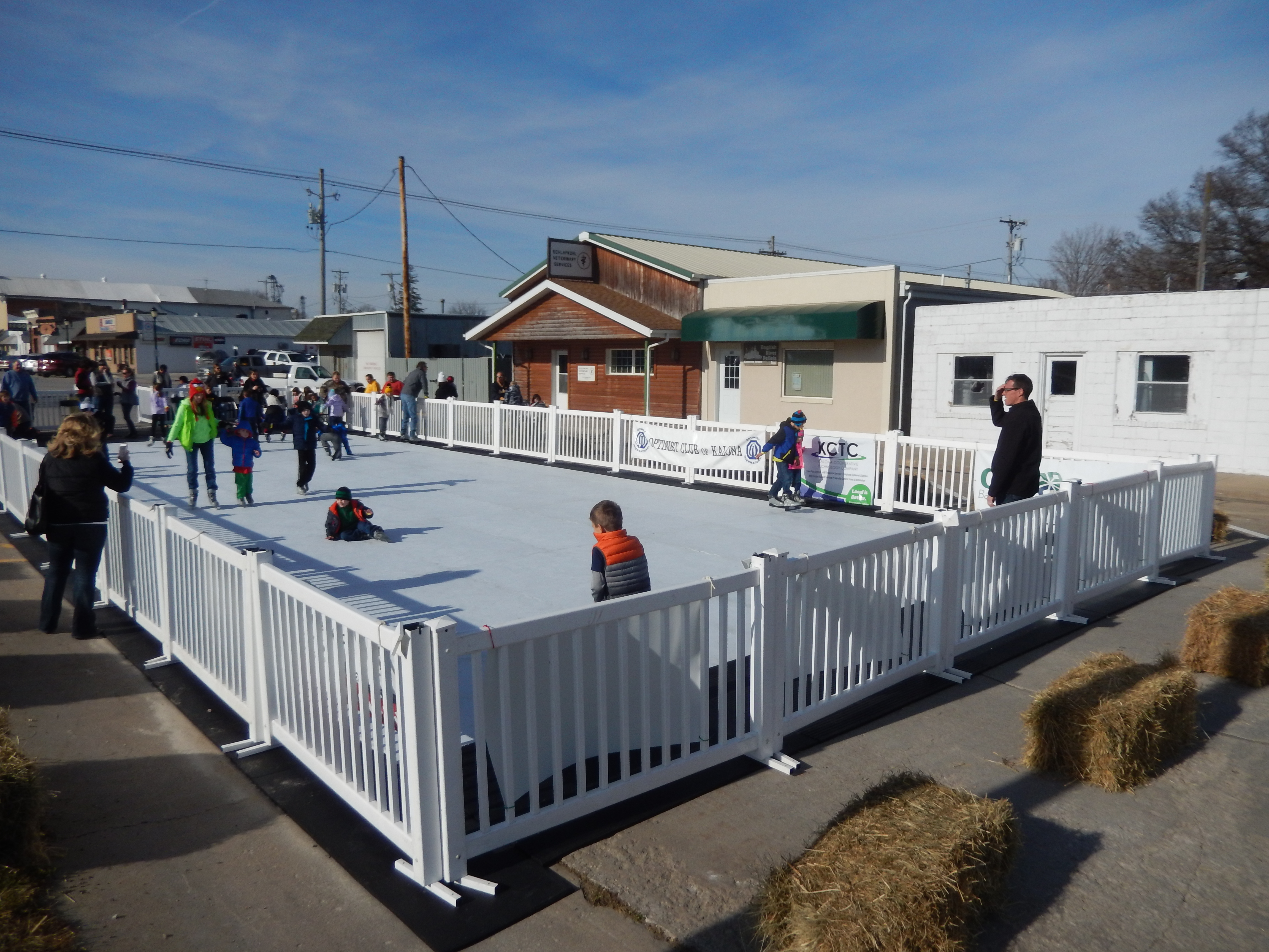 christmas in kalona with a synthetic ice skating rink
