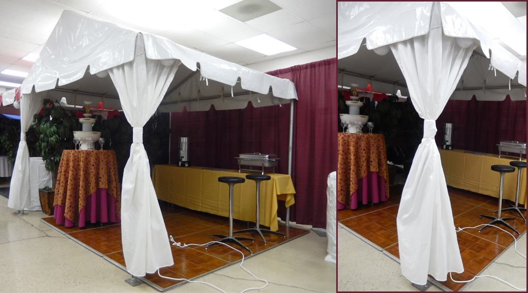 Tent Leg Draping in showroom