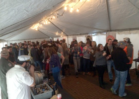 Beer Event under 20′ x 60′ frame tent at Vesta restaurant Coralville, IA