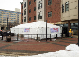 Beer Event under 20′ x 60′ frame tent at Vesta restaurant in Iowa