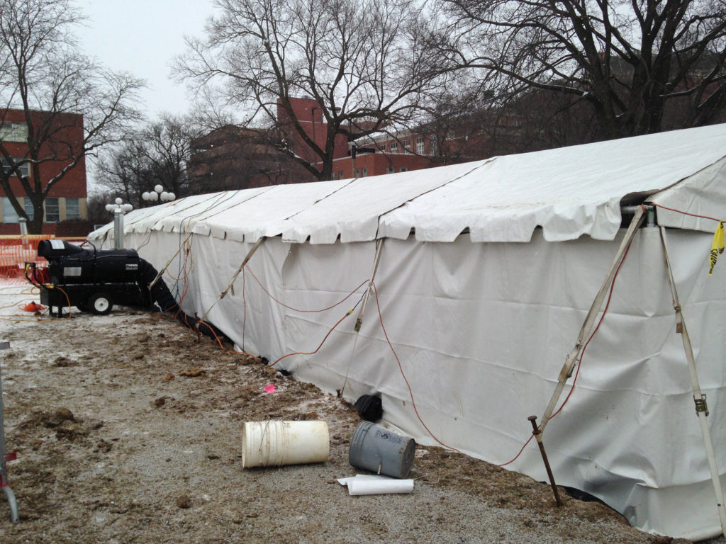 Tent with hvac heating lighting used for archeological for Heated gazebo