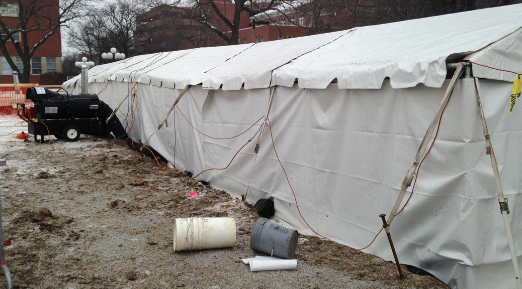 Heated tent for archeological dig