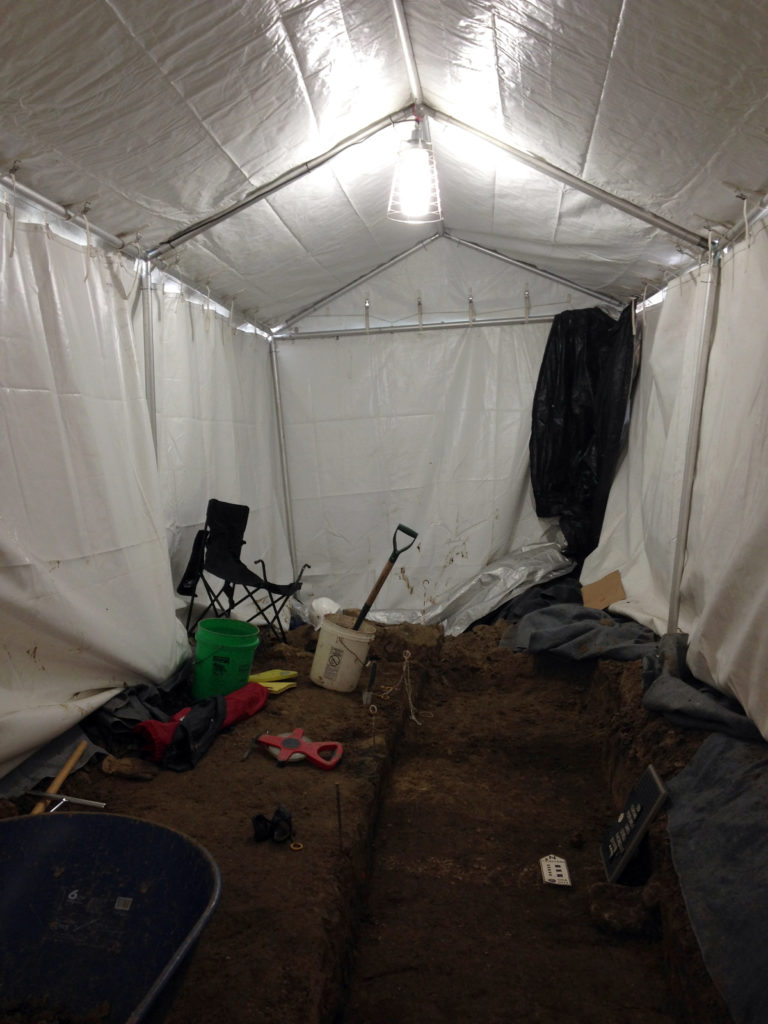 Tent with HVAC and lighting for archeological dig