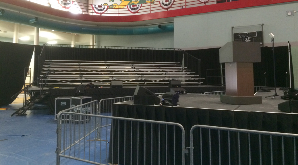 Iowa Political Rally setup with bleachers for the Iowa caucus
