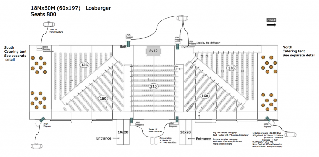 60' x 197' Losberger tent setup in Marshalltown, Iowa. Temporary onsite auditorium tent that seats 800 people with seating and stage