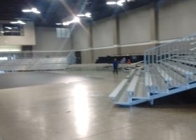 Bleachers at St. Ambrose University for the 2016 Competitive Cheer and Dance National Invitational