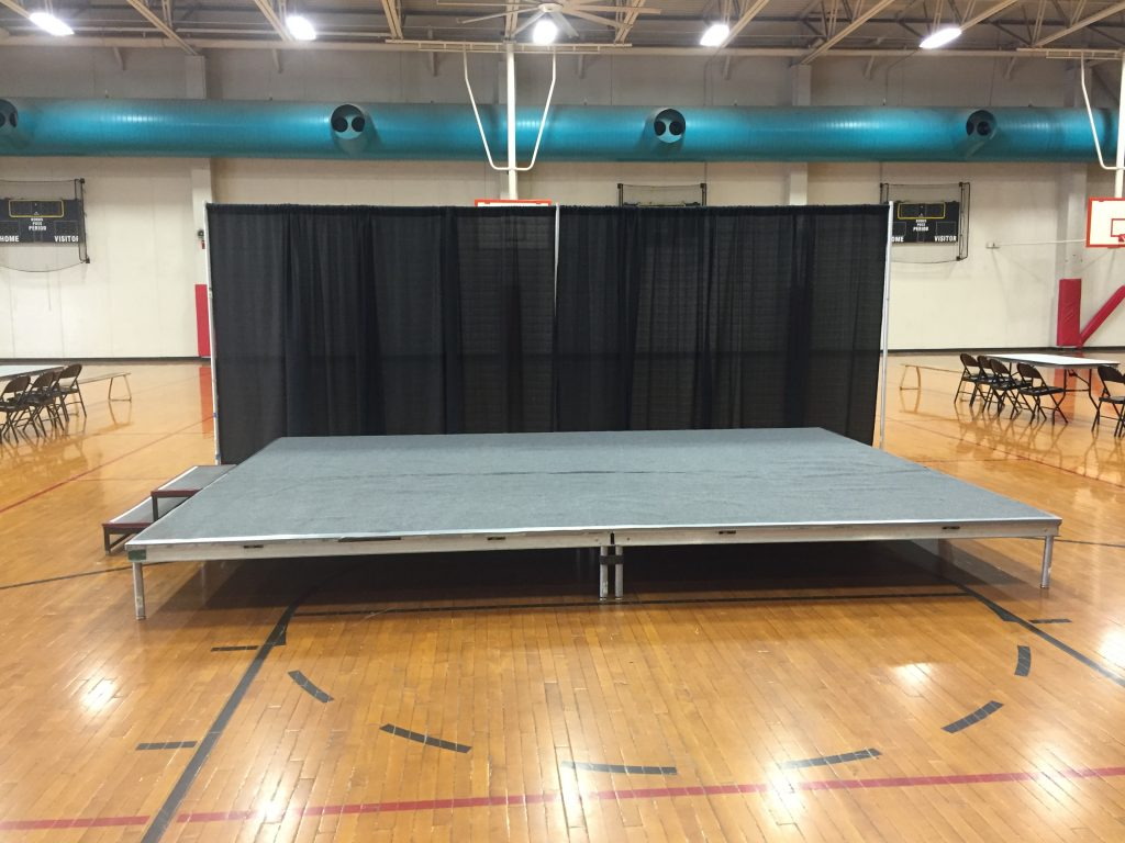 Event stage with stairs at University of Iowa Field House