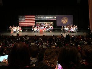 People on bleachers for a political event in Lincoln Nebraska Bleachers by Big Ten Rentals