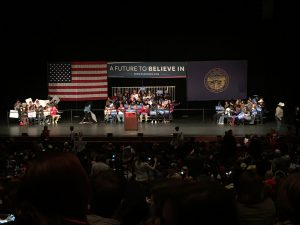 People on bleachers for a political event in Lincoln Nebraska Bleachers by Big Ten Rentals