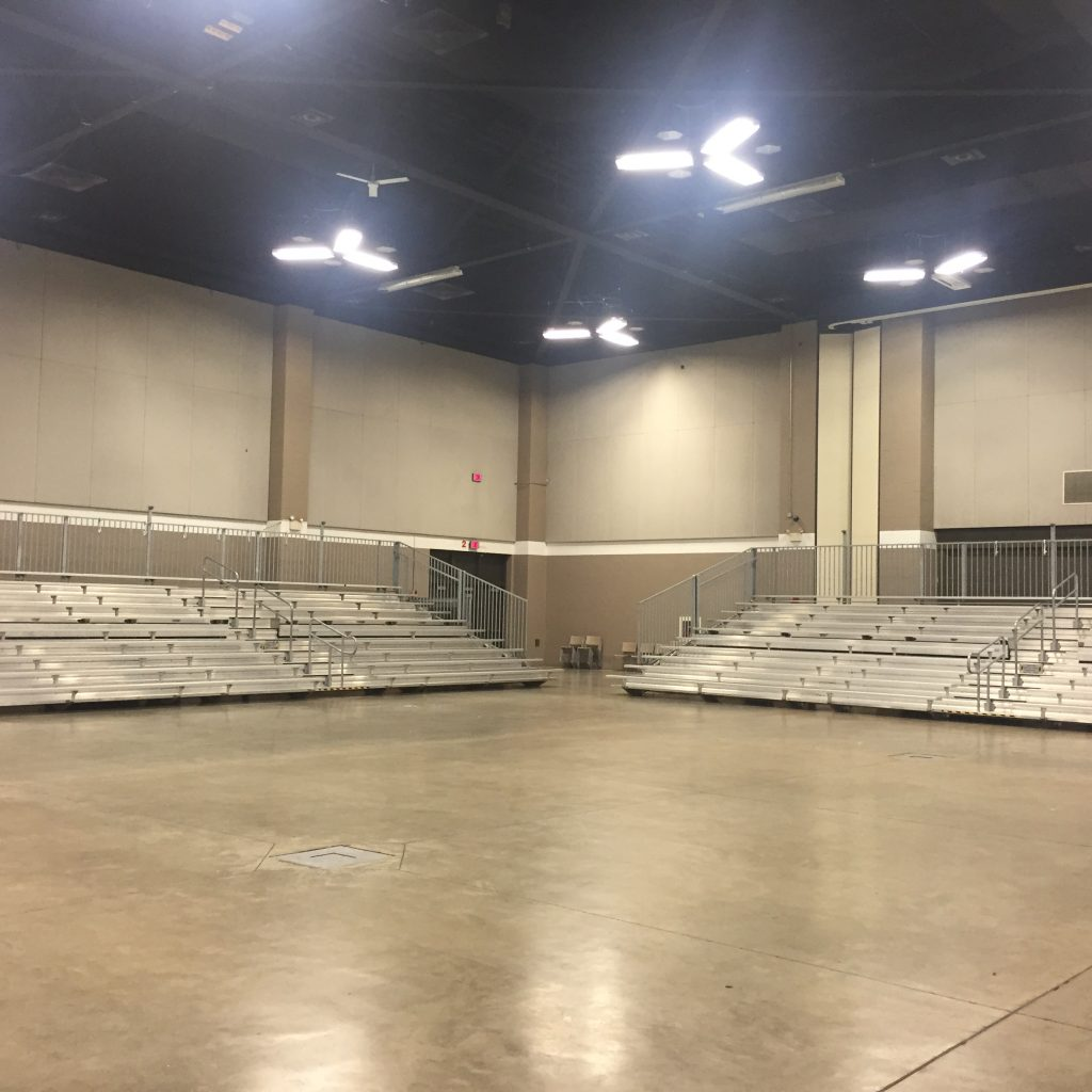 45' towable bleachers at USA Gymnastics 136 E 3rd St Davenport, IA