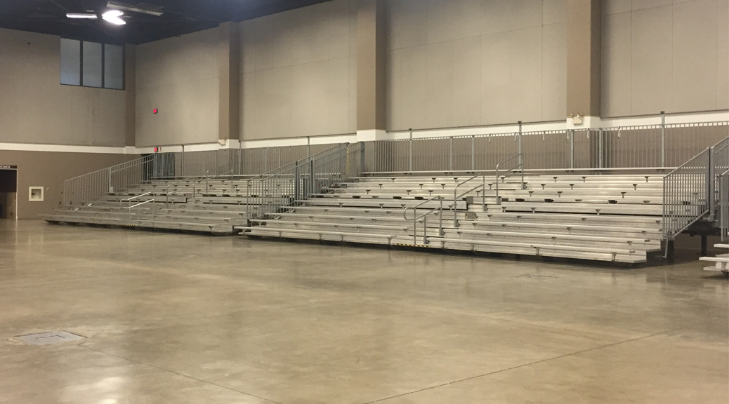 45' towable bleachers at indoor event