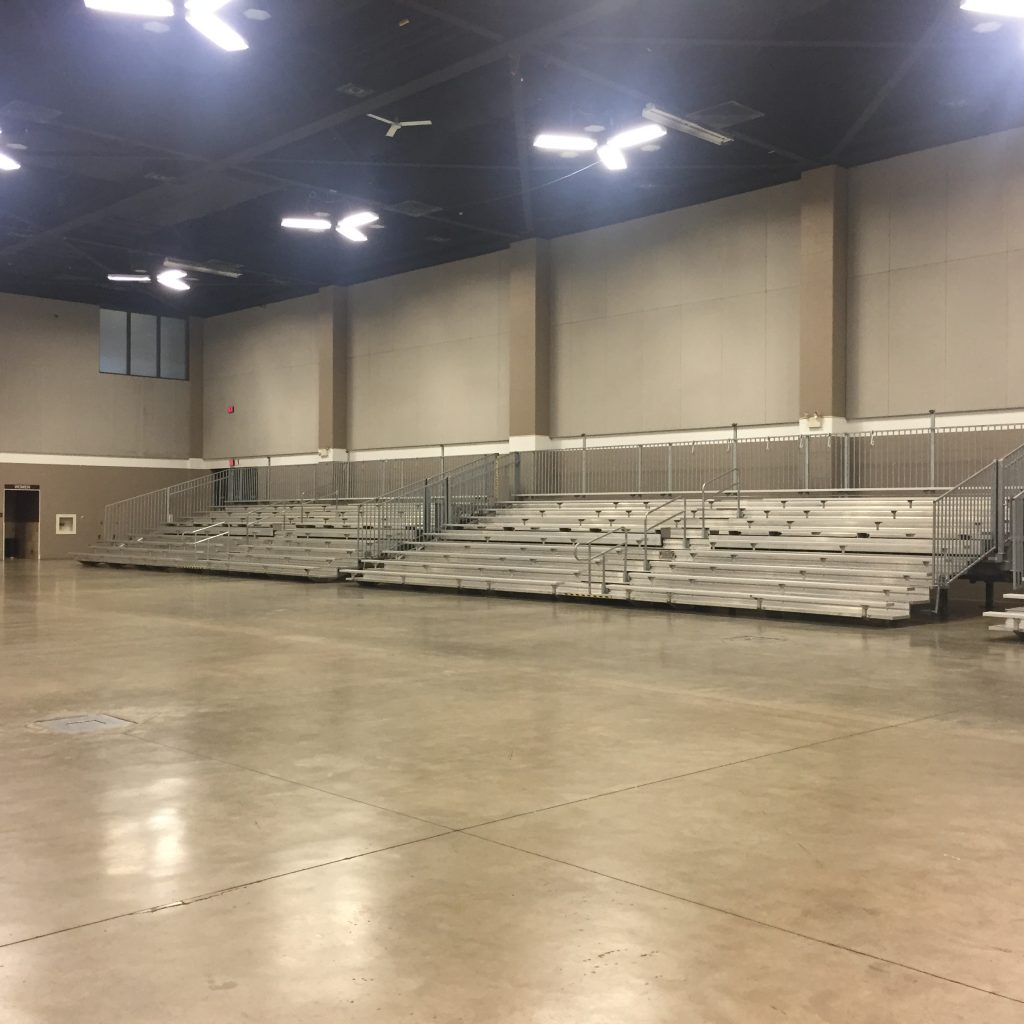 Four 45' towable bleachers at USA Gymnastics in Davenport, IA