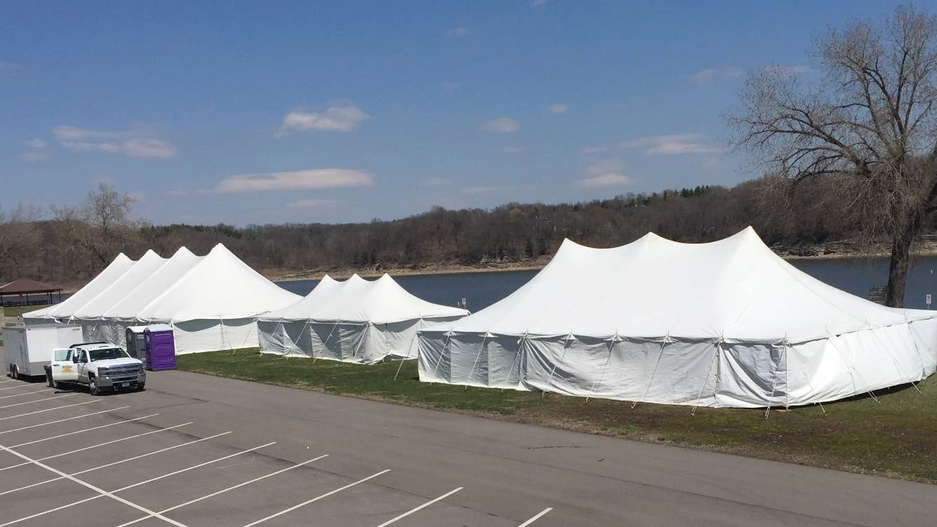 From left to right: 40' x 100' rope and pole, 20' x 40' rope and pole and 30' x 60' rope and pole tents