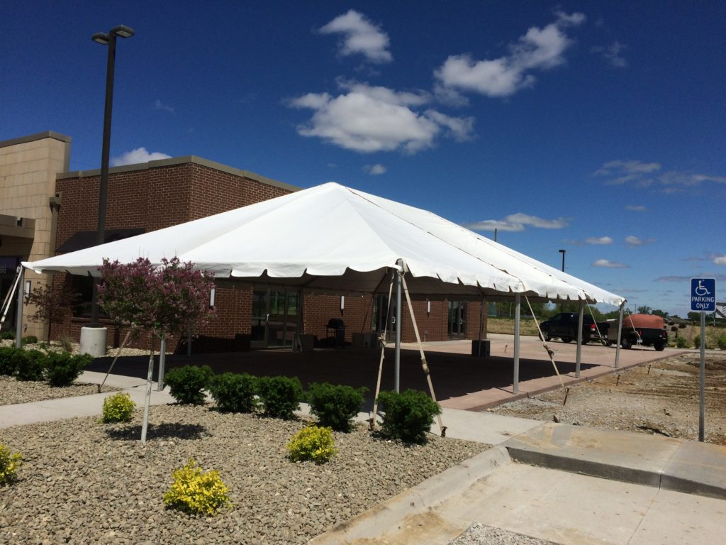 30' x 45' Frame tent set up at Two Rivers Bank & Trust grand opening in Coralville, Iowa