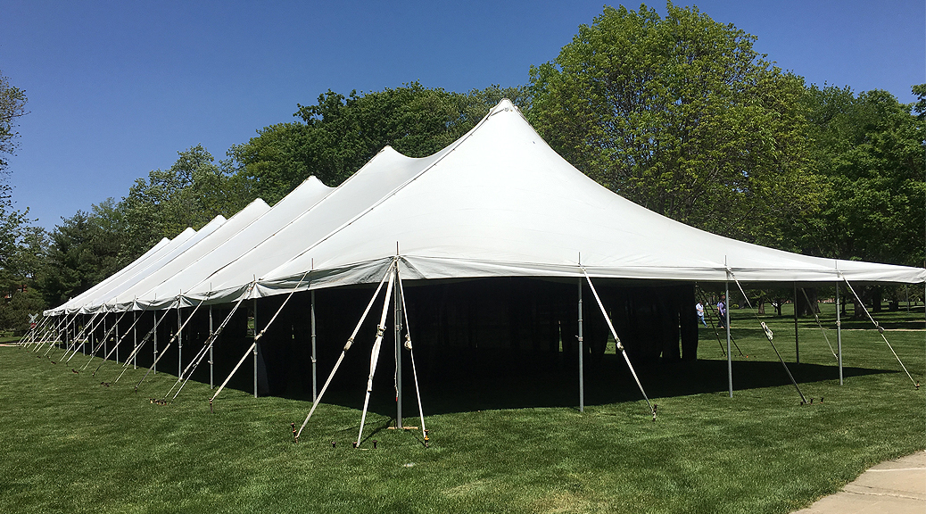 40' x 160' Rope and Pole tent for commencement ceremony