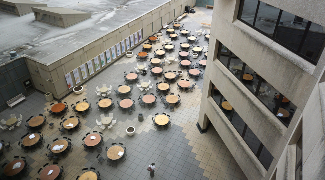 Aerial view of tables at University of Iowa Hospitals and Clinics courtyard