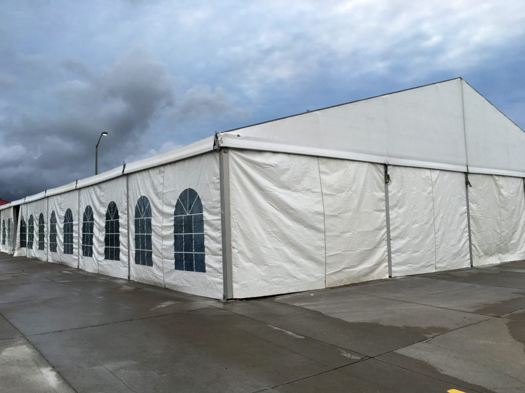 Corner of 60' x 98' Losberger tent with French Windows setup for Ajinomoto North America Inc in Eddyville, Iowa