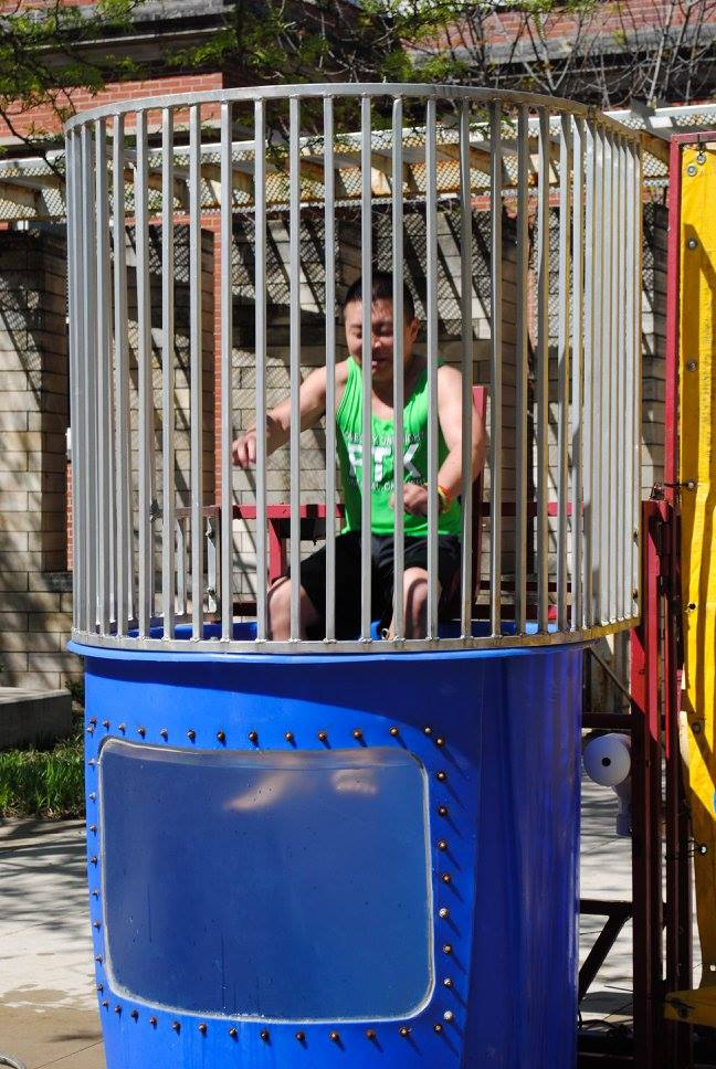Guy in the dunk tank at UIOWA Dance Marathon Summer Sendoff 2016