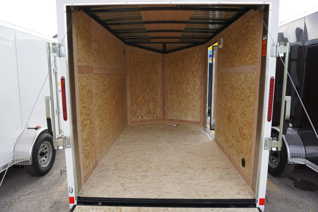 Inside of White 6'x10' enclosed cargo trailer Vin Number 2803
