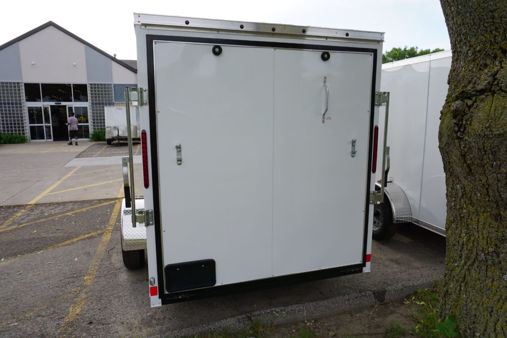 LED lights on back of White 6'x12' enclosed cargo trailer Vin Number 2831