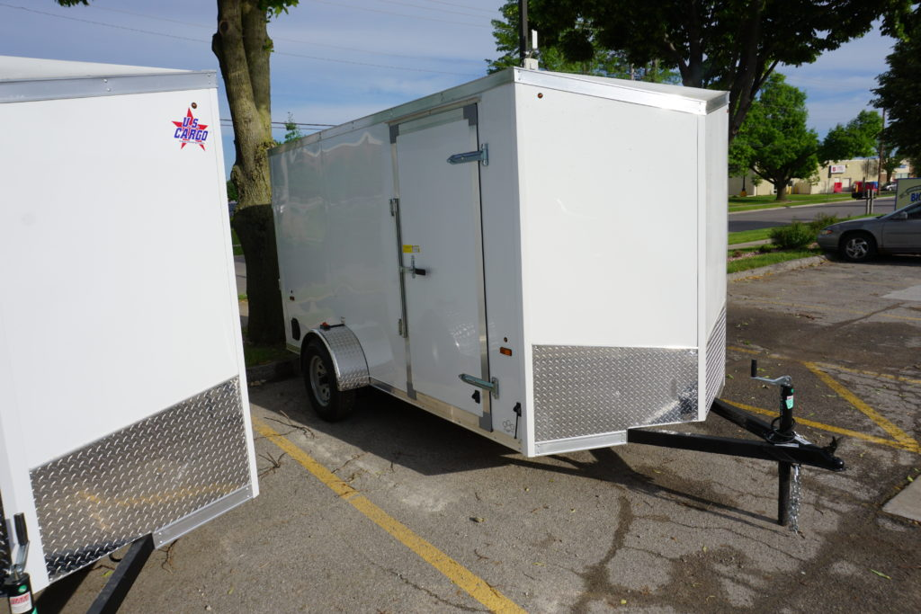 Right side of White 6'x12' enclosed cargo trailer Vin Number 2831