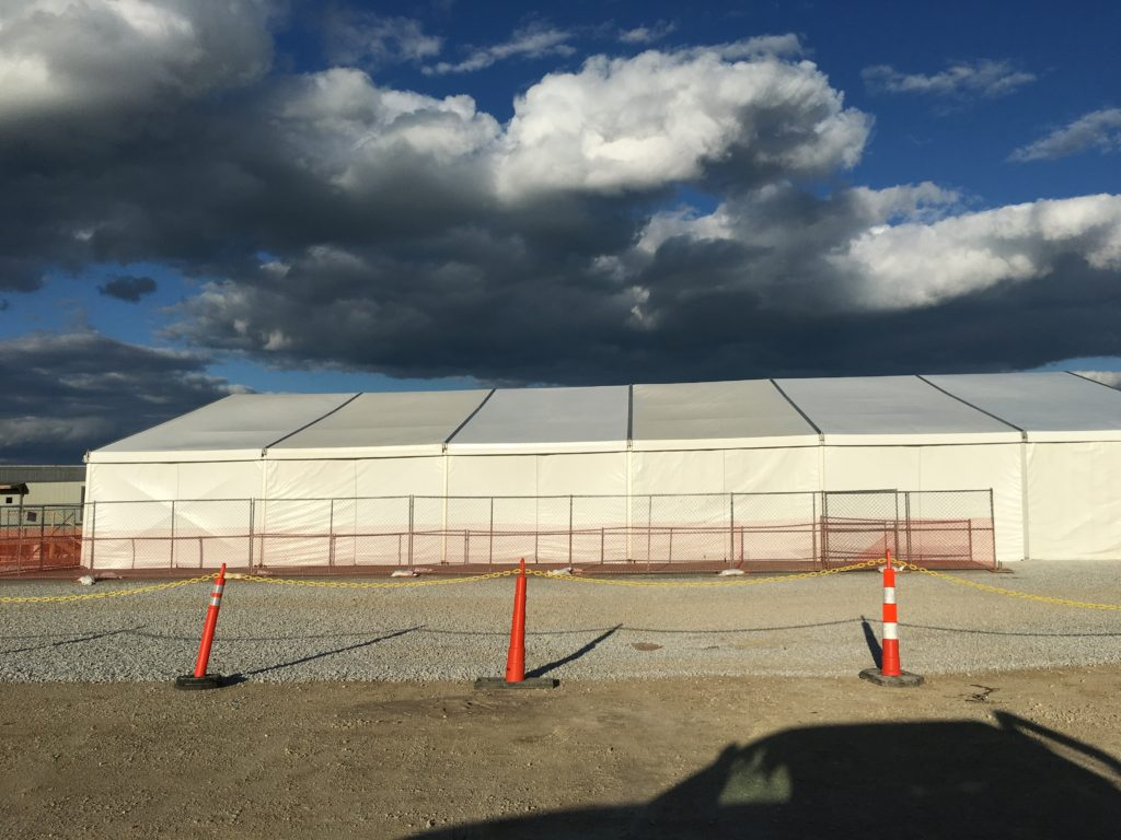 Side of 60' x 98' Losberger tent for Microsoft in West Des Moines, Iowa