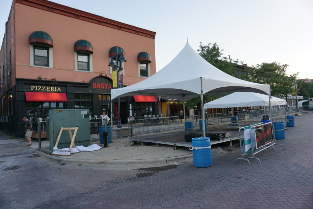 20'x20' Tentology frame tent with stage at Jazz Festival