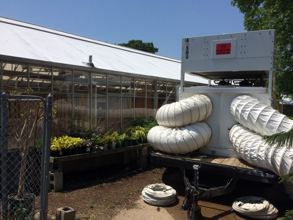 30 Ton Air Conditioning unit for a greenhouse wedding in Cedar Rapids, IA