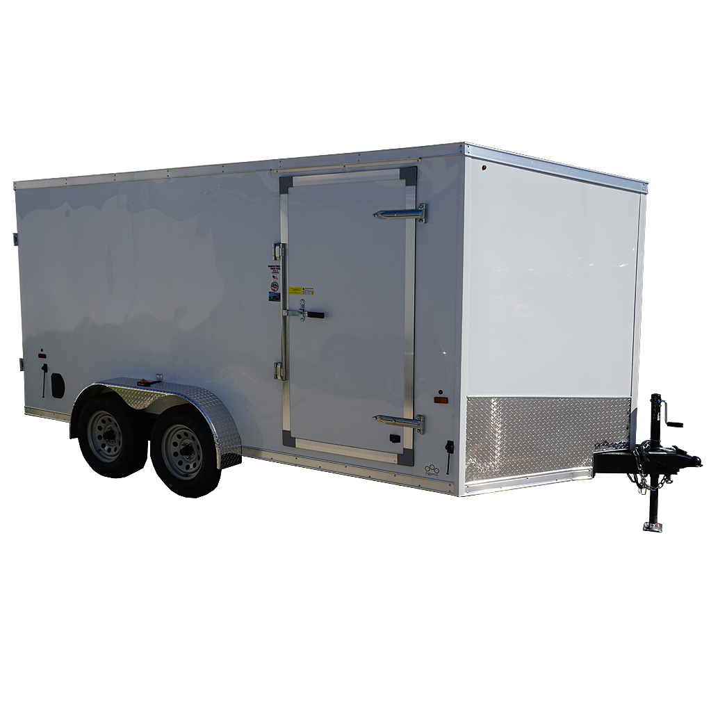 7'x14' white tandem enclosed trailer for rent or sale 2432 quare