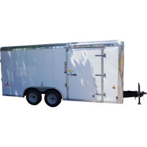 8½x16 white tandem enclosed trailer for rent or sale [sn2488]