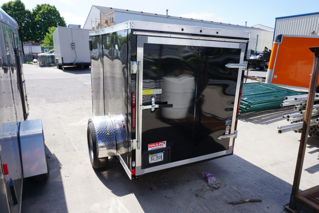 Back of 5' x 8' black single axle enclosed trailer [3055]