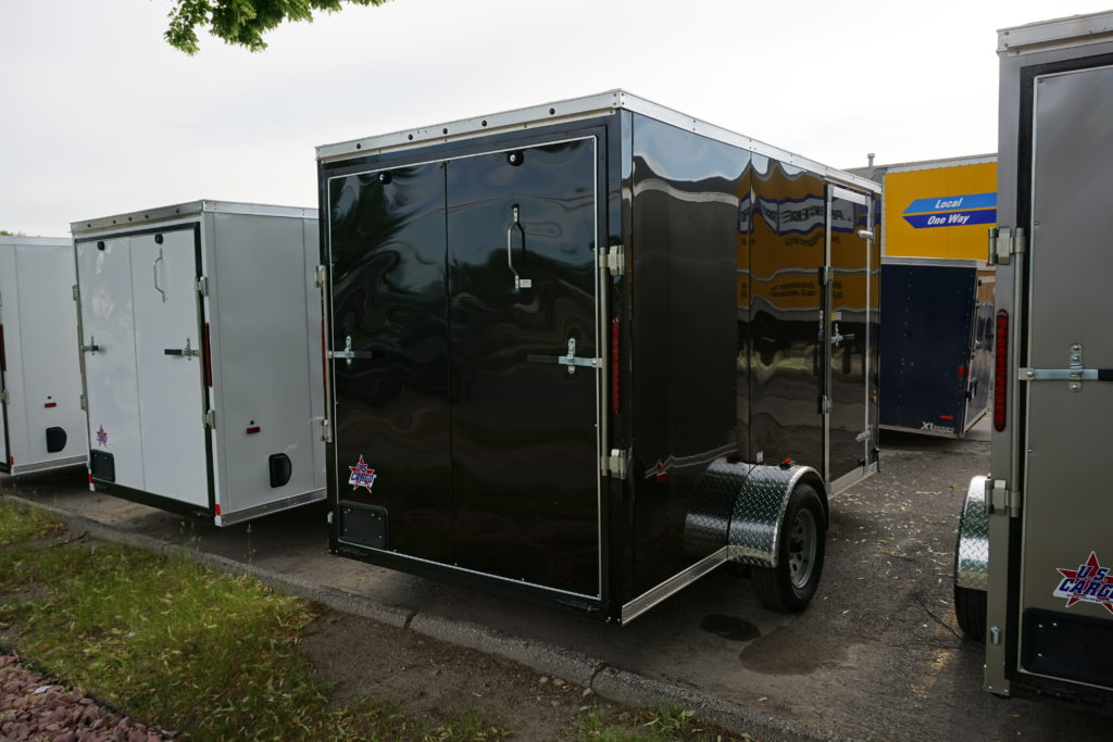 Back right of Black 6'x12' enclosed cargo trailer
