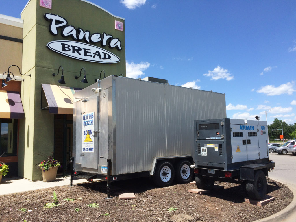 Big Ten Rentals Portable freezer with 60 kw Generator at Panera Bread at Sycamore in Iowa City, IA