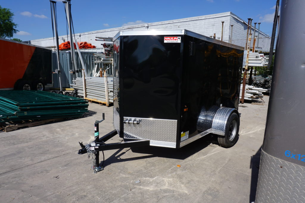 Front left of 5' x 8' black single axle enclosed trailer [3055]