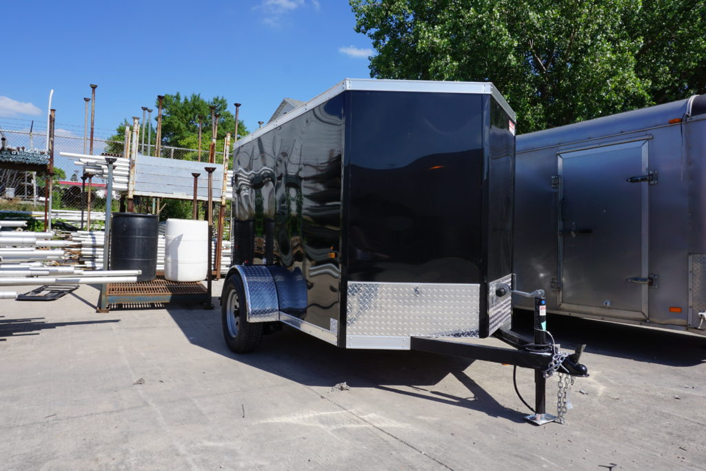 Front right 5' x 8' black single axle enclosed trailer [3055]
