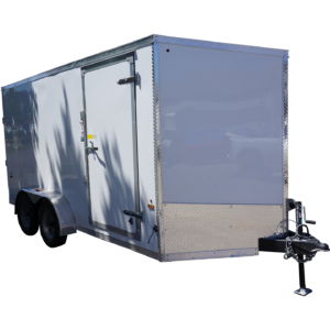 Front right of 7x14 white tandem enclosed trailer for rent or sale [sn2887]
