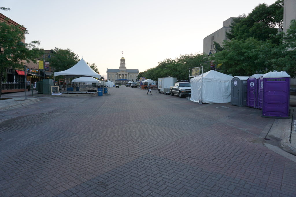 Jazz festival setup in downtown Iowa City, IA