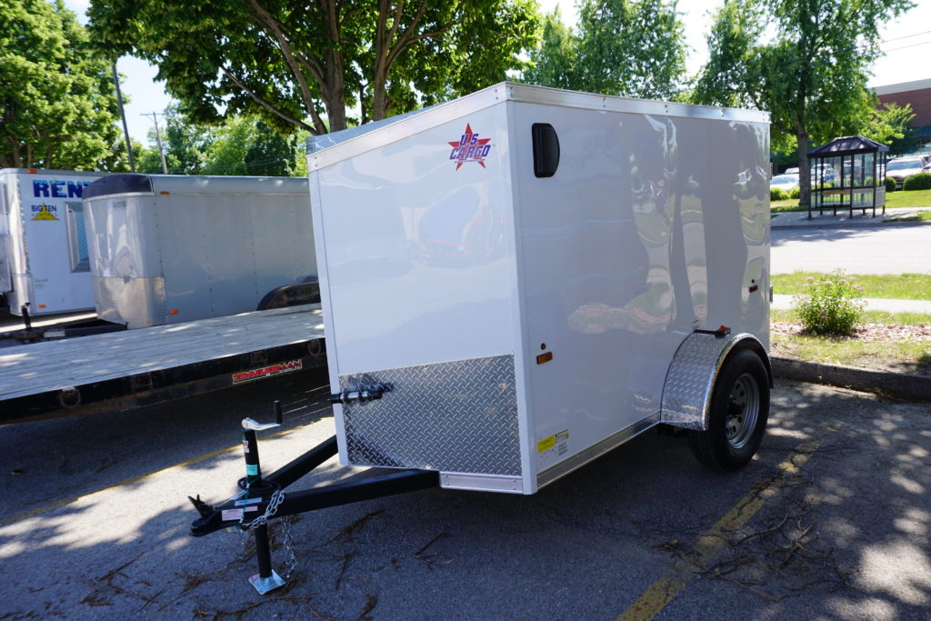 Left side of 5' x 8' white single axle enclosed trailer for rent or sale sn2643