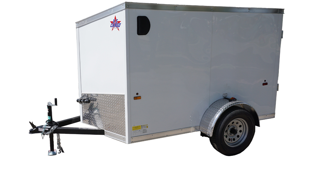 Left side of 5' x 8' white single axle enclosed trailer [sn2643]